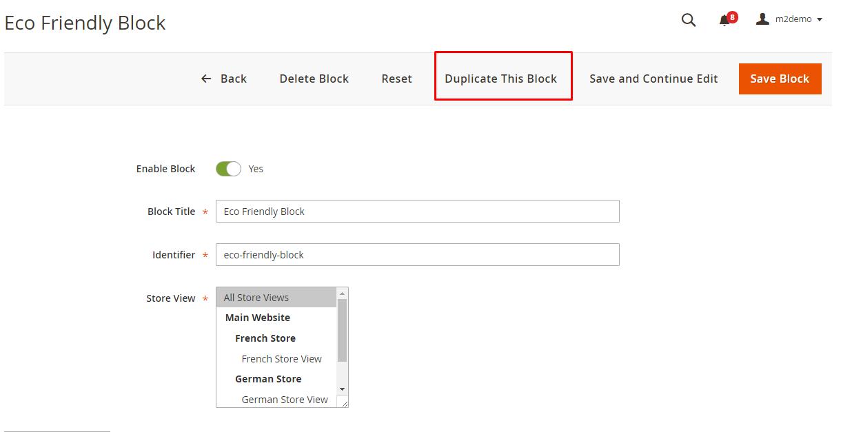 Duplicate block from block detail page
