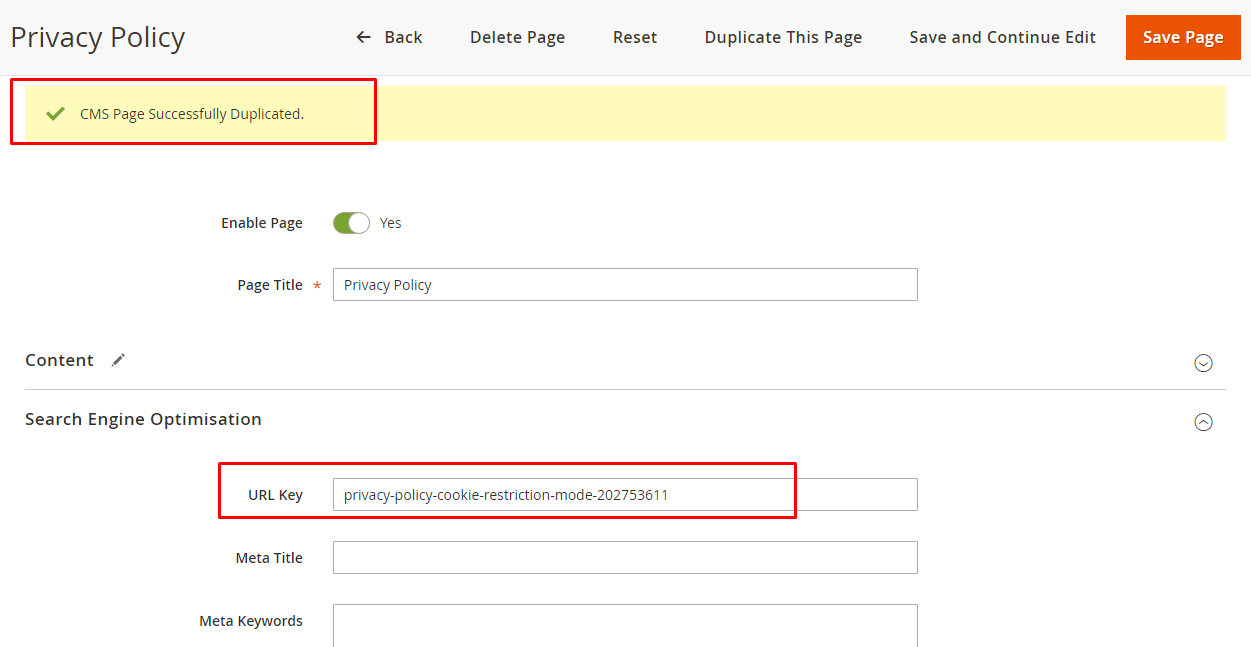 Duplicate page result