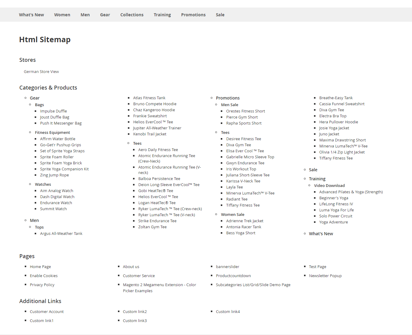 Html sitemap layout 1