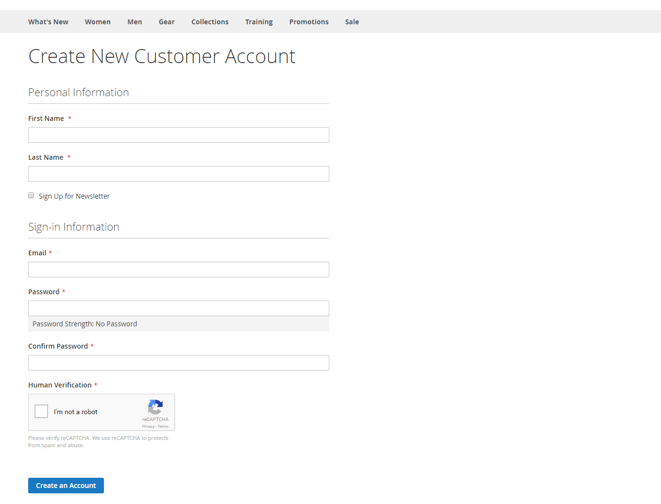reCAPTCHA v2 in customer create form