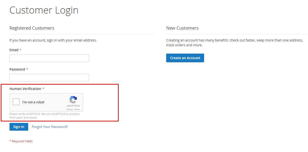 reCAPTCHA v2 in customer login form
