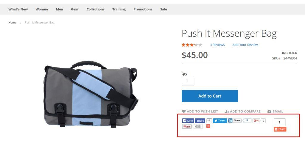 Social share after social links in product page