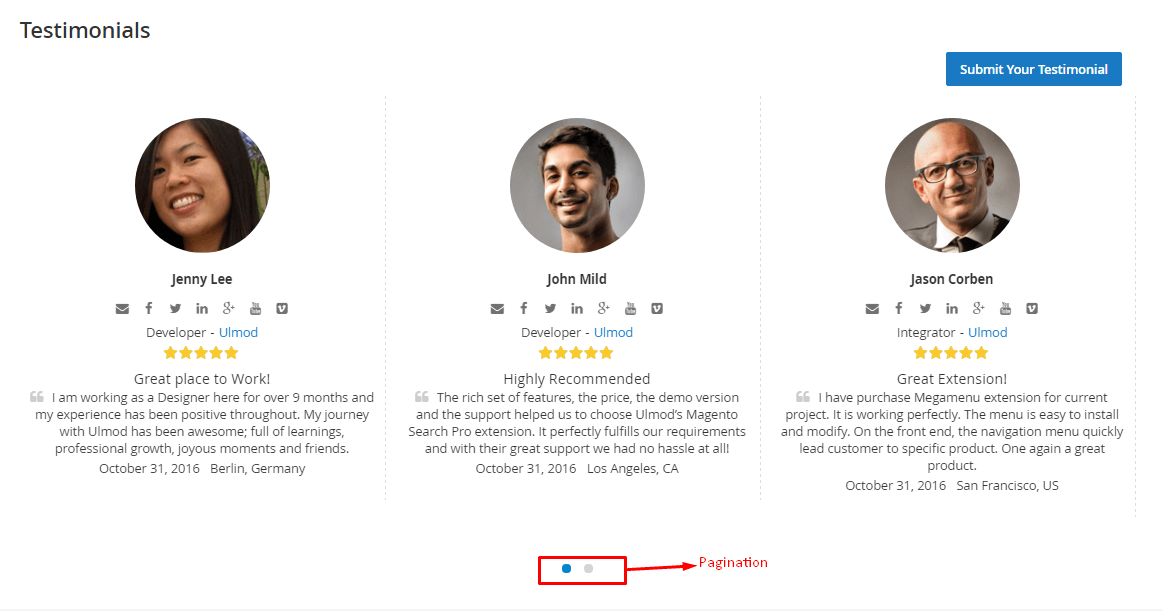 Testimonials slides with pagination