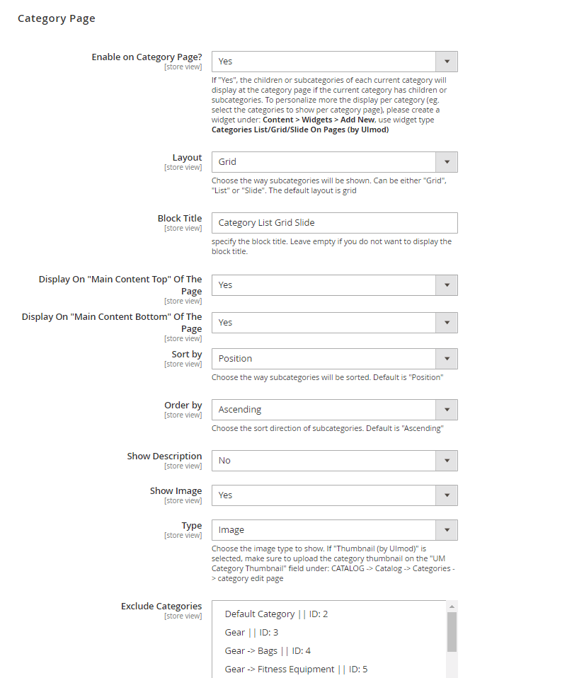 Category page settings