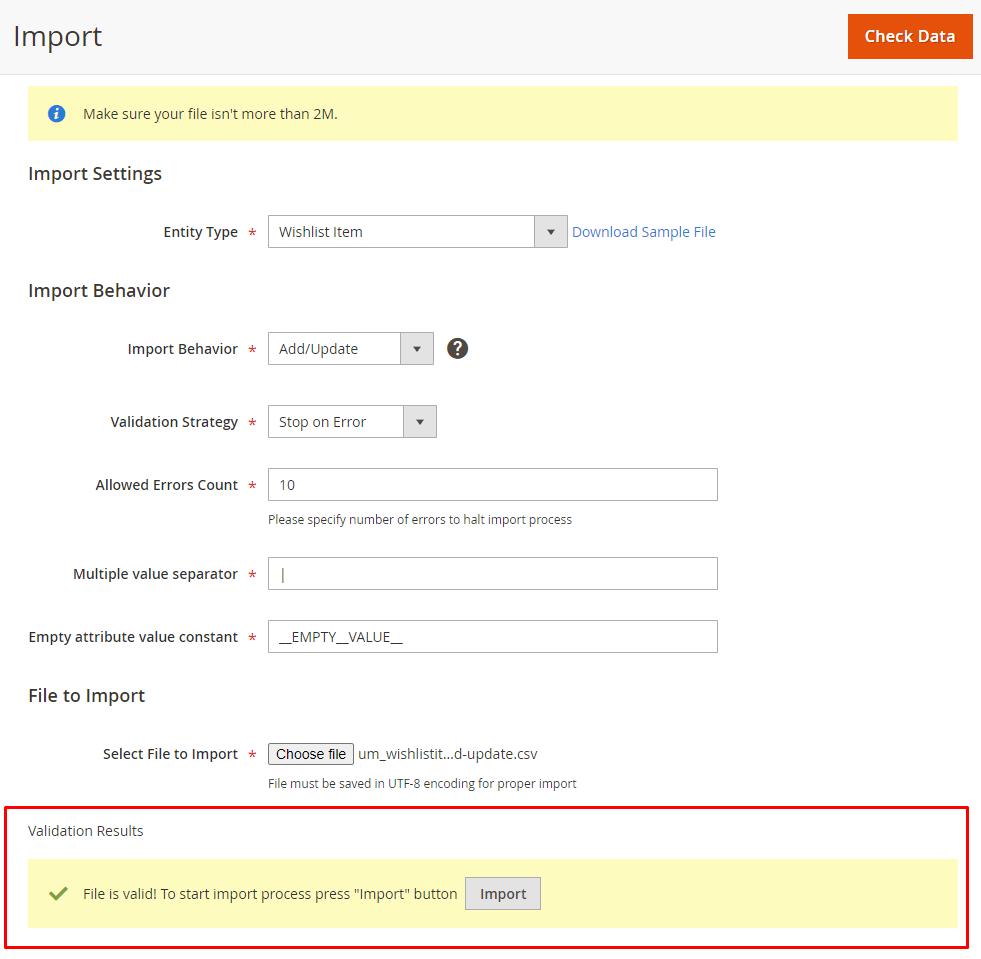 Import validation results