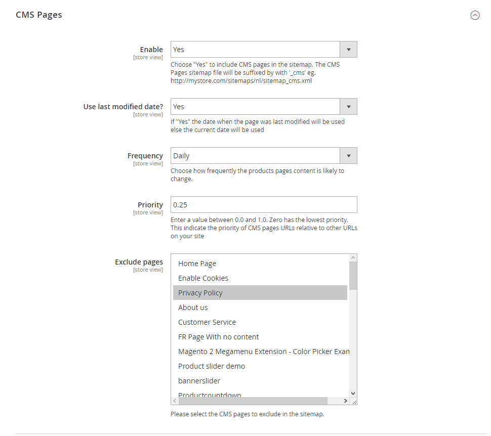 CMS pages settings