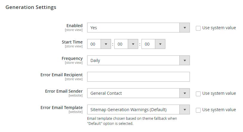 Sitemap generate config