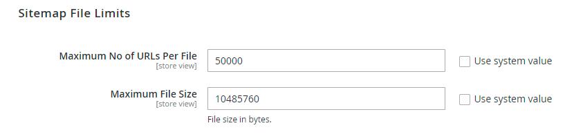 Sitemap limit config